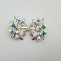 Vintage Aurora Borealis Rivoli Rhinestone & Faux Pearl Big Clip Earrings  - $13.58