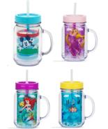 Disney Store Jelly Jar Mickey Dory Ariel Rapunzel Acrylic PVC straw New - $36.95+