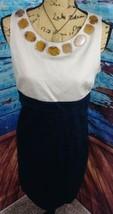 Ann Taylor Loft dress 8 sheath sleeveless embellished neck multi color b... - $25.58