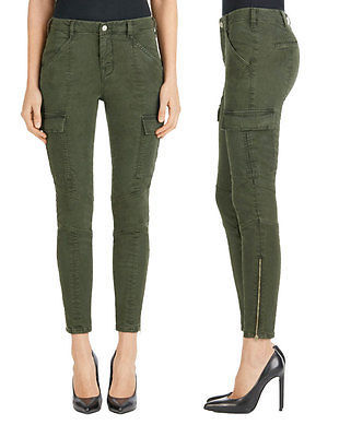 New J Brand Jeans Womens Skinny Pants Houlihan 25 Distressed Caledon Green Zip