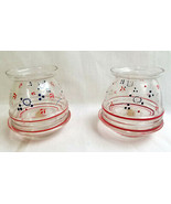 """2 Handpainted Arcadia Glass Candy Bowl Dish Clear Art Glass Red Blue 4"""" - $34.95"""