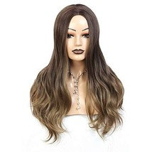 Long Wavy Synthetic Wigs For Women 26 Inch Body Wave Wig Ombre Brown Color Non-L