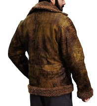 B3 Aviator Pilot Distressed Brown Artificial Fur Shearling Bomber Leather Jacket image 3