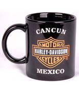 Harley Davidson Coffee Mug-Cancun MX-Black-Motorcycles-Etched Shield Logo - $28.04