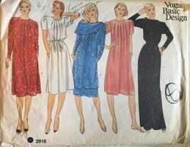 Vogue 2918 Misses' Basic Design Dress, Tunic, Skirt, Belt & Scarf Size 16  - $9.99