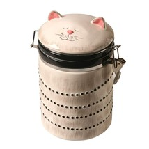Ceramic Cat Treat Cookie Jar - Sealable Kitchen Canister - $33.04