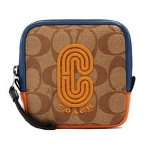 NWT COACH Square Hybrid Pouch Block Signature Canvas Logo Patch Orange 9... - $81.18