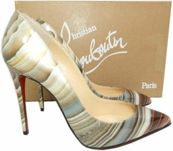 Christian Louboutin PIGALLE  Pumps Shoes 36 AGATE Patent Leather Pointy Toe Shoe - $499.99