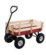 NEW Outdoor Garden Cart Pulling Wagon with Detachable Wood Railing Light... - $127.64