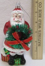 Santa Claus Christmas Ornament Hand Blown Glass Glitter Living Quarters NEW - $9.85
