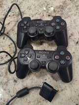 Lot of 2 Sony Play Station Analog Controllers SCPH-10010 Black A9 - $21.51