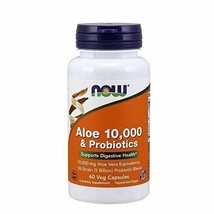NEW Now Aloe 10,000 & Probiotics Supports Digestive Health Vegan 60 Veg ... - $15.42