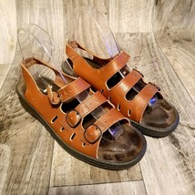 Clarks Womens Springers 72837 Sz 8.5 Brown  Leather Three Straps Sandals - $29.99