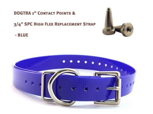 """DOGTRA 1"""" Contact Points & 3/4"""" SPC High Flex Replacement Strap - Blue"""