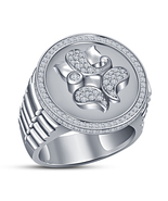 Christmas Shopping, 925 Silver Sim Diamond Ganesha Mens Wedding Ring - $98.01