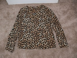Dana Buchman Leopard Print Roll Up Sleeve Top Womens Size 8 nb - $12.50