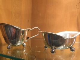 Vintage Ball Footed Silver Plated Creamer And Open Sugar - $13.10