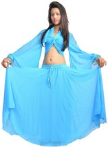 TURQUOISE Halloween Belly Dance Costume Set Gypsy Tribal ATS Dance (Skir... - $23.76