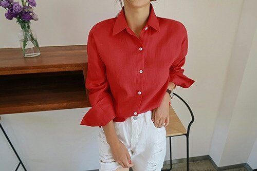[Shoeming] Thumb linen NB (100% linen) Shirt / Southern Korean style