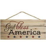 God Bless America Patriotic Natural 10 x 4.5 Wood Wall Hanging Plaque Sign - $15.74