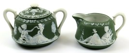 Green Jasperware Schafer & Vater Fairy Creamer & Sugar Bowl Lid, Germany - $49.49