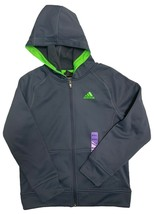 Adidas Boy's Climawarm Full Zip Hoodie M.Grey S.Green - $29.99