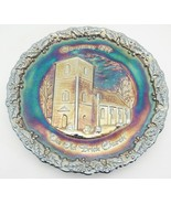 Fenton Carnival Glass 1971 Christmas Plate Old Brick Church Amethyst Min... - $19.79