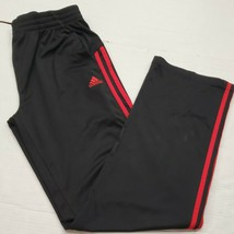 Adidas Black Red 3 Stipe Training Workout Pants Youth Boys XL 18 Good Co... - $13.85