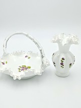 Fenton Silver Crest Hand Painted Violets in the Snow Vase Basket Ruffle Unsigned - $95.00