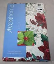 "60"" x 84"" Oblong Christmas Poinsettias Tablecloth Holiday Serenade Avon ... - $21.73"