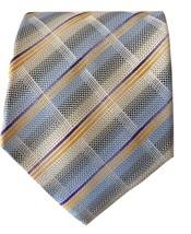 "Uomo Venetto Pastel Blue and Yellow Plaid Checkered Tie 58 x 4"" Long Ita... - $24.99"