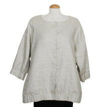 EILEEN FISHER Natural Twinkle Linen Woven Round Neck Jacket 1X - $169.99