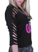 Iron Fist Women's Black Panther Pink Wild Ones Slashed 3/4 Sleeve Crop T-Shirt image 5