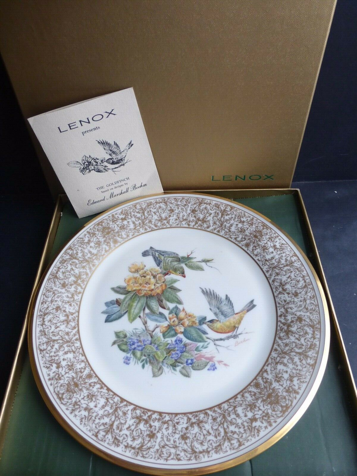 LENOX BOEHM BIRDS The Goldfinch 1971 Porcelain Plate 24-karat Gold image 2