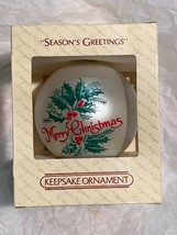 "Hallmark Designer Keepsake Glass Ornament ""Season's Greetings"" - NEW IN BOX - $6.99"