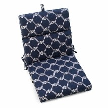 "Blue Sailors Knot Outdoor Patio Chair Cushion Pad Hinged Seat Back 44"" L... - $73.75"
