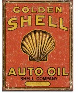 Shell Company Golden Shell Auto Oil Metal Sign Tin New Vintage Style #1973 - $10.29