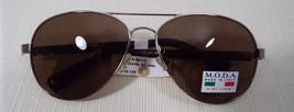 MODA IM110 Titanium Aviator Sunglasses Rx-able Lenses Gold Frame Brown Lenses - $48.00