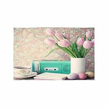 InterestPrint Vintage Still Life with Tulips and Easter Eggs Fabric Plac... - $30.68