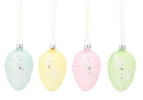 Easter Egg Ornaments Set of Four Floral Pastel Glass Chicken Egg Size