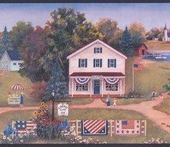 Retro American Village Flags Lake Patriotic Wallpaper Border Retro Desig... - $16.82