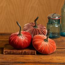 Velvet Pumpkins Set of 3 Includes Harvest Rust Bronze, Handmade Home Dec... - $47.50