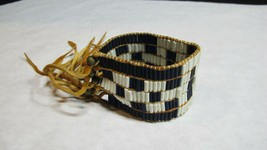 Native American Arm Band Cuff With Leather And Cobalt Wampum Beads - $124.95