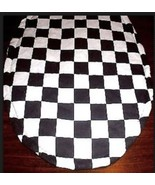Nascar Checkered Flag Fabric Toilet Seat Lid Cover Handmade In The USA - $9.89