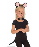 CHILD SIZE PLUSH MOUSE SET EARS BOW TIE TAIL KIDS HALLOWEEN COSTUME ACCE... - £4.19 GBP