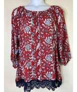 Ruby Rd. Womens Plus Size 1X Red Floral Lace Trim Tunic 3/4 Sleeve - $19.80