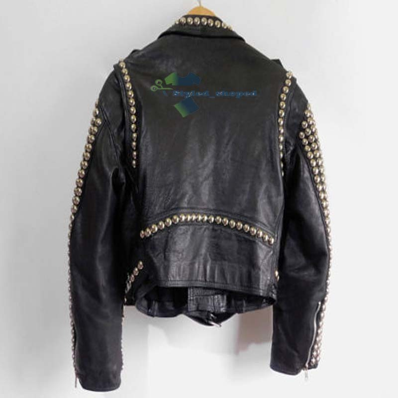 Customized Men's Black Rock Brando Punk Biker Golden Studded Pure Leather Jacket image 3