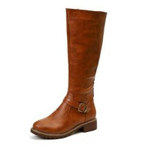 Women Leather Zip Knee High Boots Women's Metal Buckle Fashion Boots Woman Ro... - $43.90+