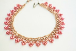 Vintage beaded collar glass faux pearl pink graduated ombre Japan croche... - $22.76