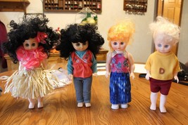Lot of Vintage Plastic Dolls eyes open close dressed in Hala Hawaii outfit - $13.95